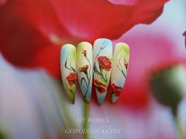 Дизайн флористика ногтей